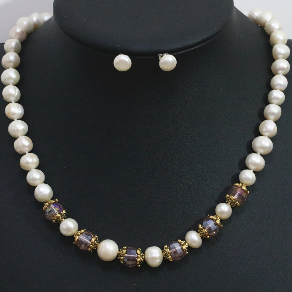 Spacer natural white freshwater 9-10mm round pearl necklace earrings set crystal beads elegant women jewelry 20inch B1424