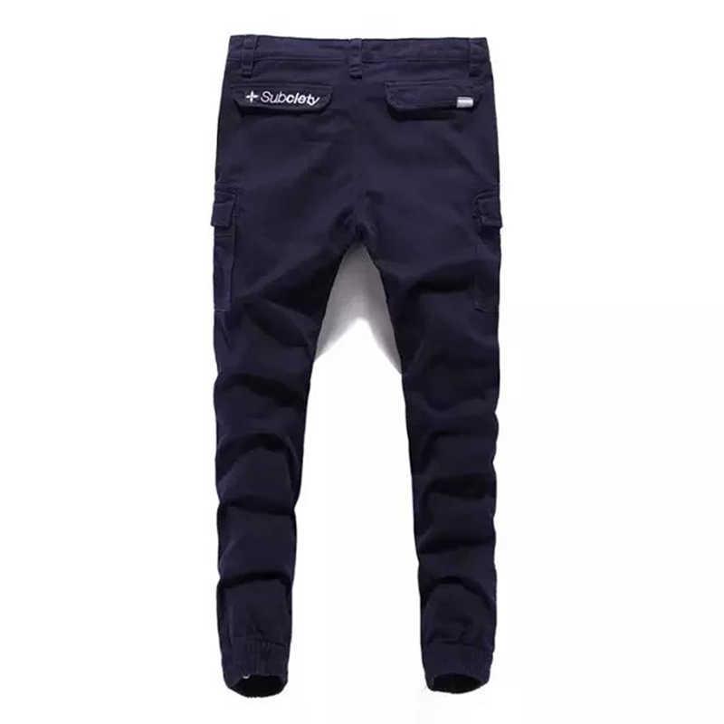 2018 уличная Для Мужчин's Повседневное джинсовые тренировочные штаны брюки брендовая одежда темно-синего цвета на лодыжке-Длина брюки из джинсовой ткани с карманами с перекрестной шнуровкой джинсы Для мужчин A239