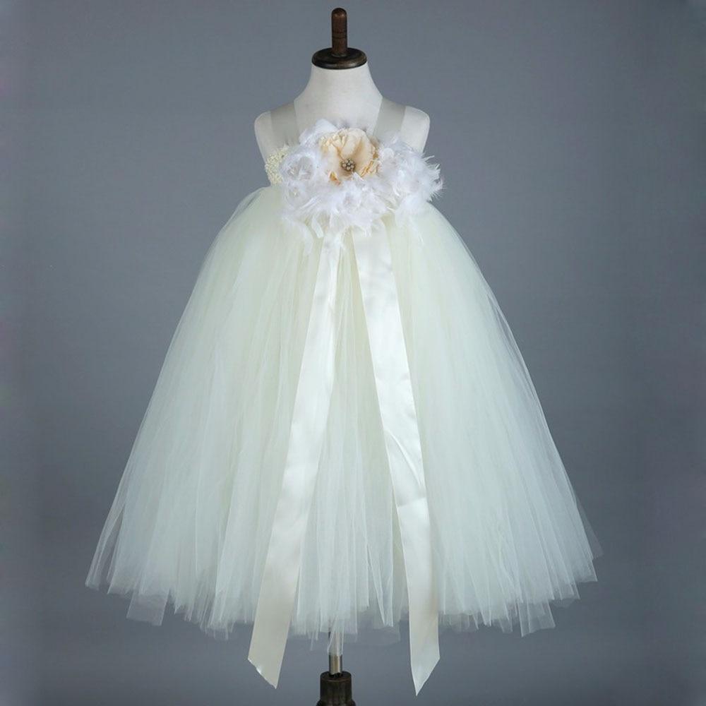 Princess Girls Tutu Dress With Feather Fluffy Handmade 1-12Y Party Tutu Flower Girl Dress Wedding Birthday Halloween Costume