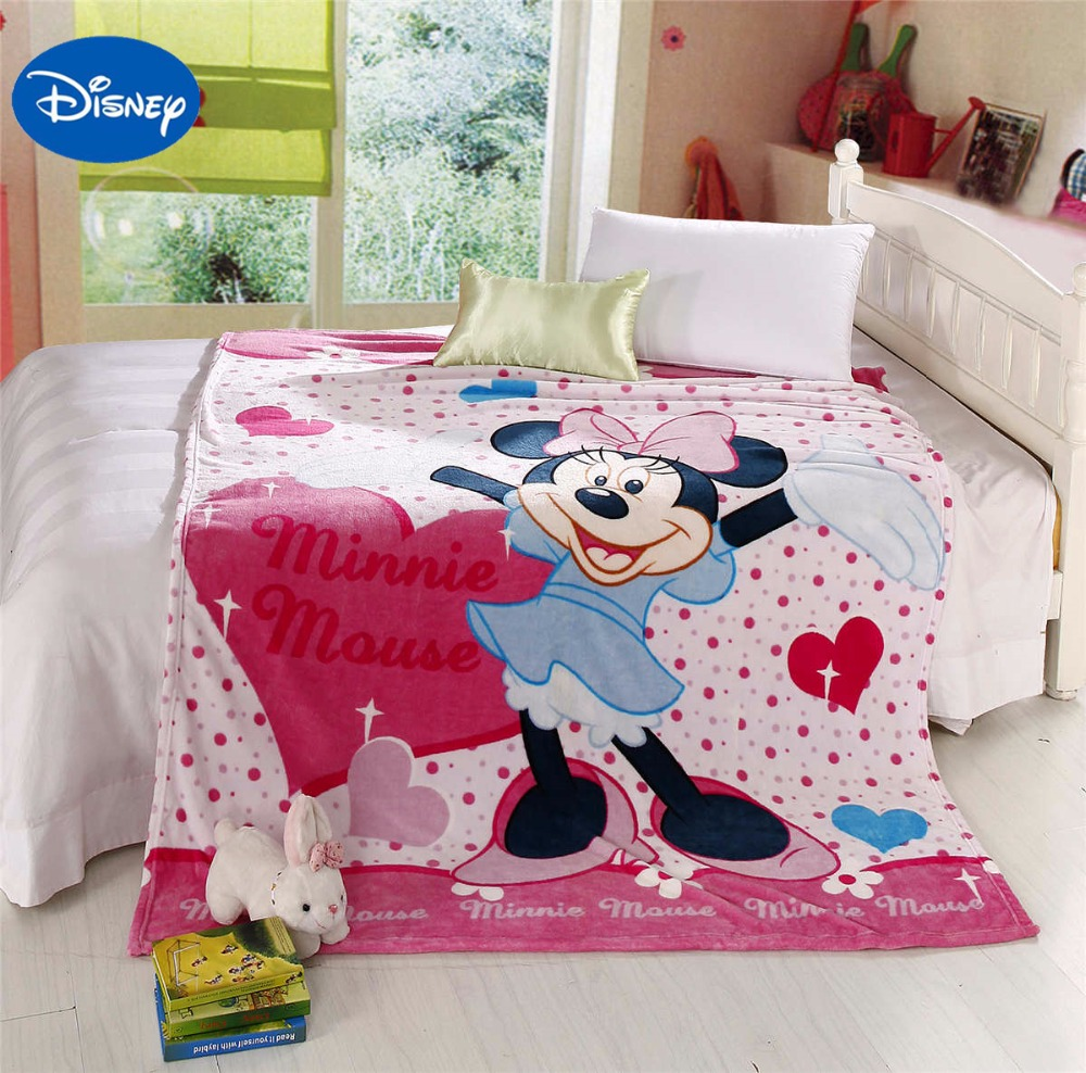 pink polka dot sweet minnie heart blanket girl babys child room decor size fo 150*200cm warm flannel bed cover disney cartoon