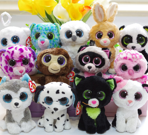 Ty Beanie Boos big eyes Plush rabbit dog Owl Elephant soft