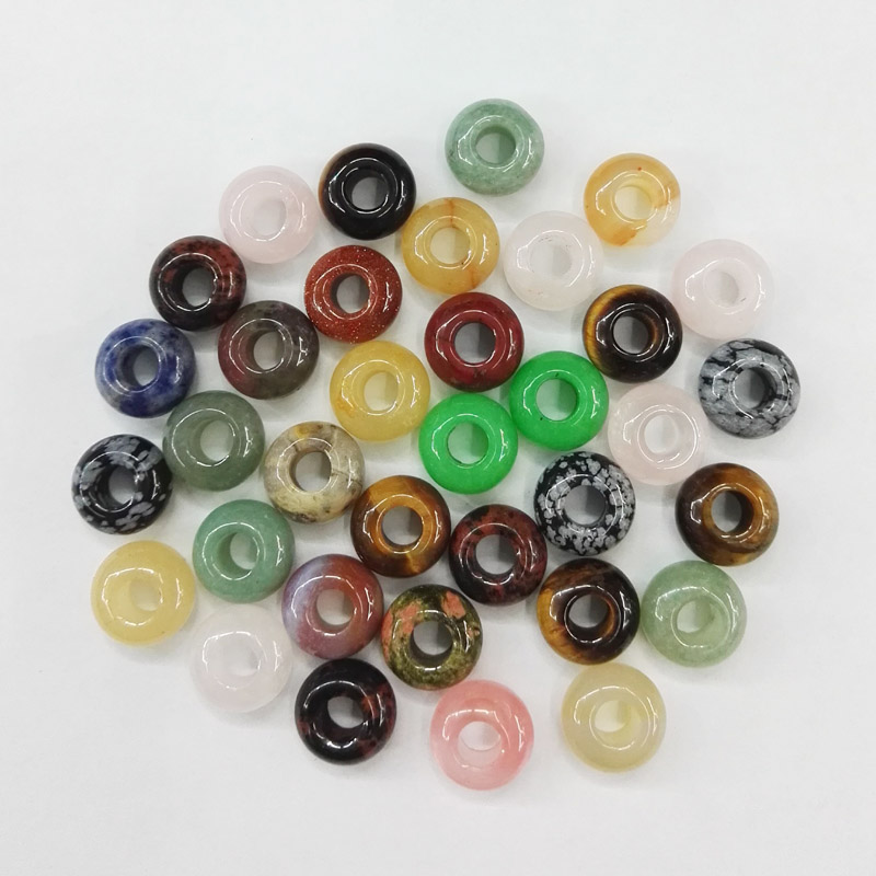 Wholesale natural stone big hole beads charm Fashion Jewelry good quality mixed round shape 98pc lot