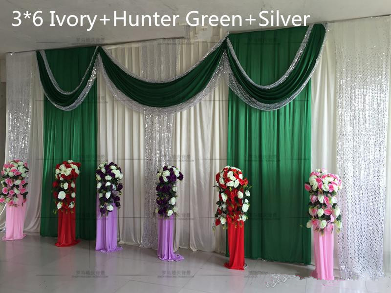 3M*6M Ice Silk Wedding Backdrop Curtains With Sequins Swag Wedding Drapes  Perfermance Stage Backdrop