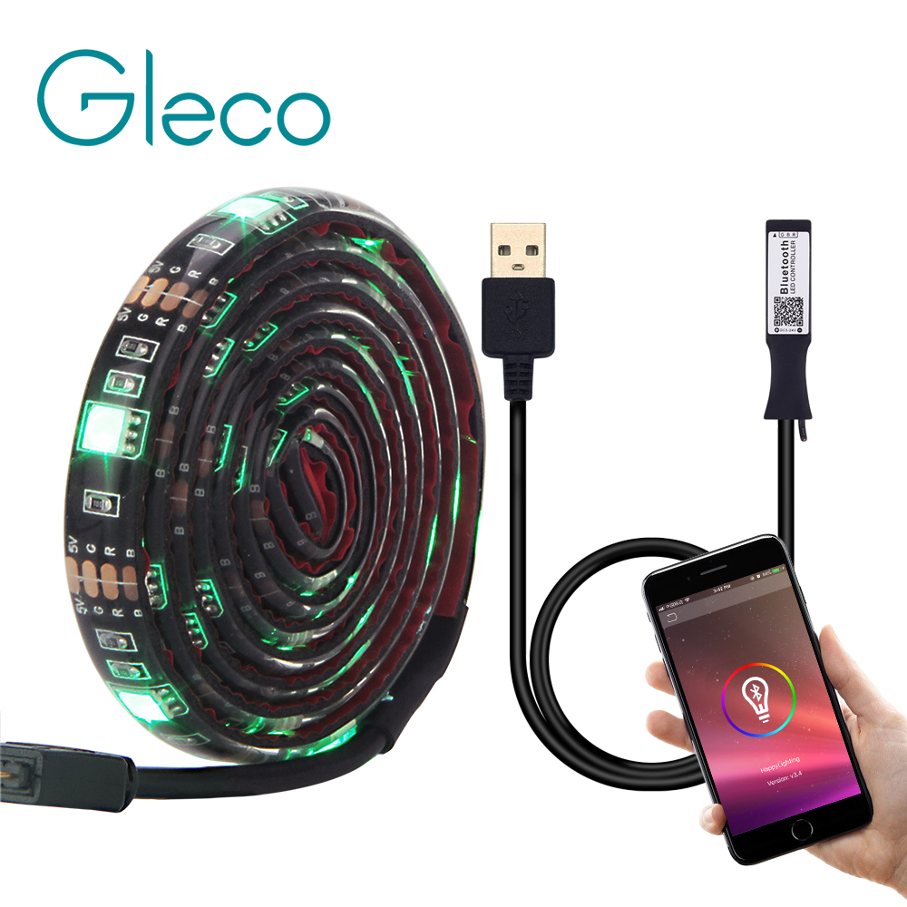 USB LED Strip 5050 RGB 50CM 1M 2M Bluetooth APP Control / Mini 3Key Controller Flexible Light TV Background Light RGB LED Tape