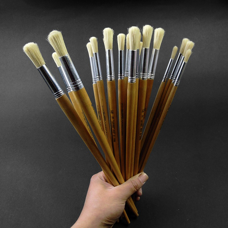 Trition 3Pcs Bristle Hair Oil Paint Brush Acrilic Set Round Head Paint Brushes For Acrylic Painting Wall Artists Art Supplies