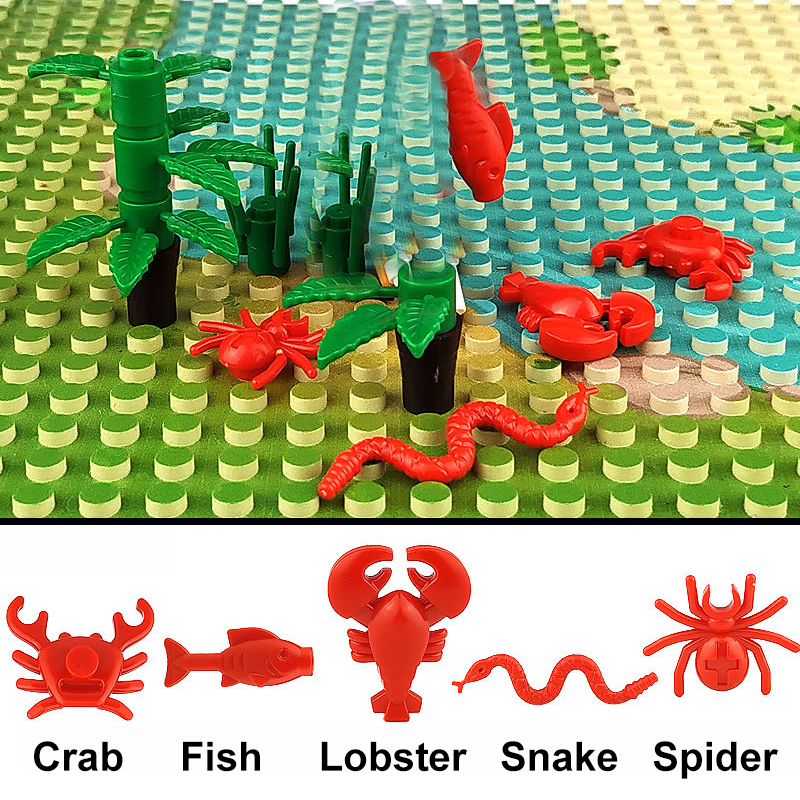 Details about  /LAND ANIMALS Or SEA CREATURES CONSTRUCTION PLASTIC BLOCKS BRICKS SETS LION CRAB