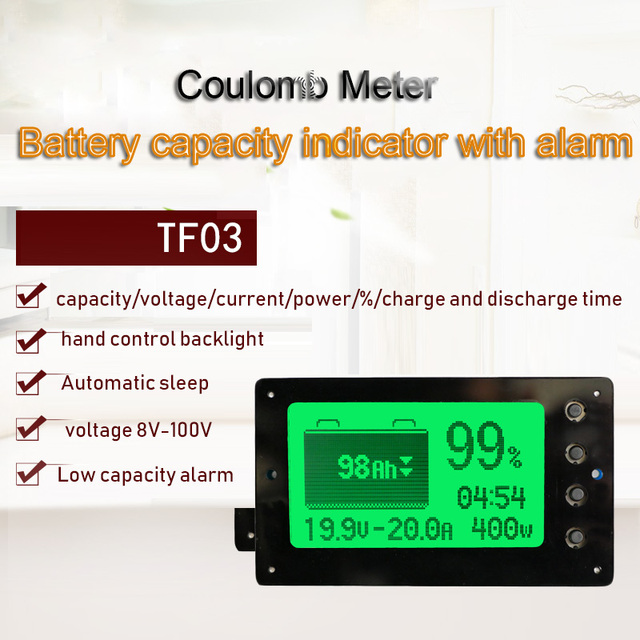 TF03 Coulomb Counter eBike Li ion Lithium Lifepo4 Battery Power Voltage Capacity Indicator Tester Coulometer 50A 100A 350A 500A