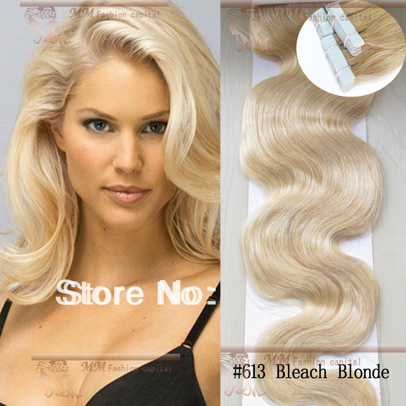 Pu Taped Skin Weft Hair Extension 613 Bleach Blonde Malaysian Body