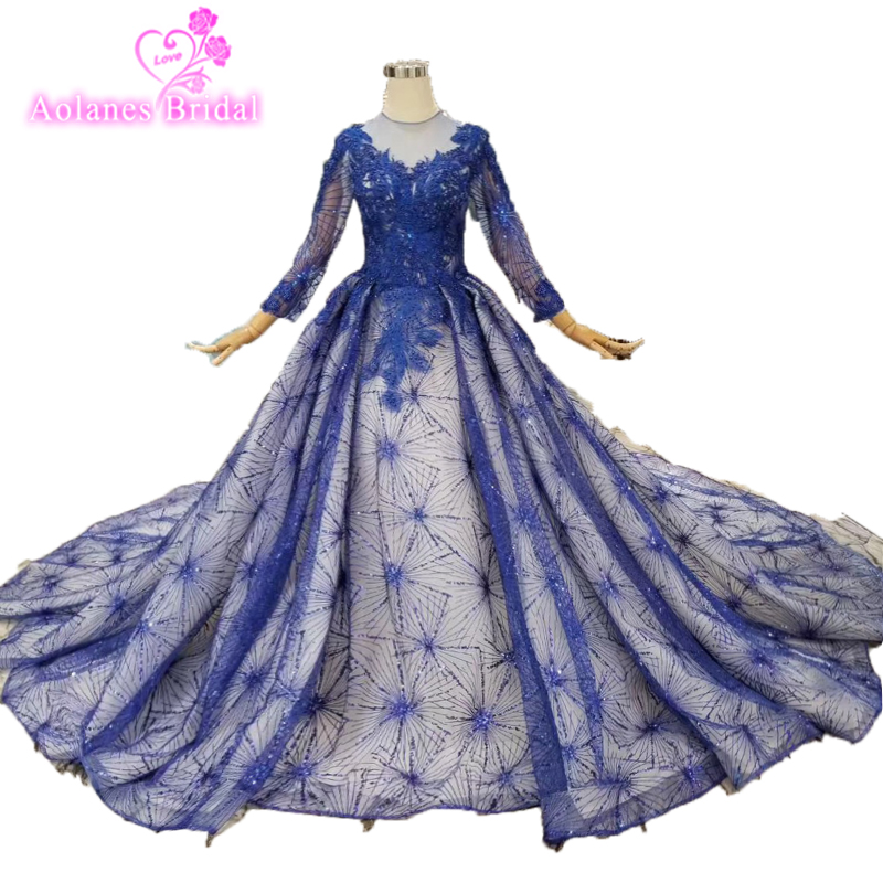 Vestido De Casamento Long Sleevese Lace Appliqued Ball Gown Tulle   Prom     Dress   2019 Hot Blue Sexy Women Pageant Evening Gowns