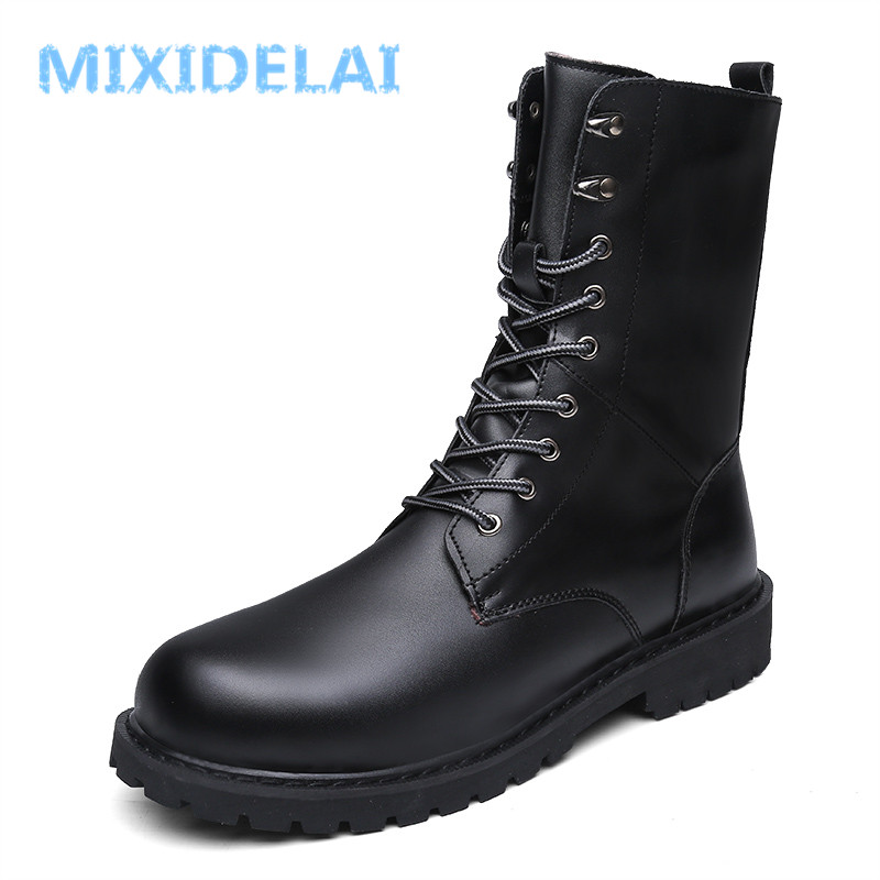 MIXIDELAI Military Boots Men Winter Shoes Warm Men Leather Boots Footwear Cowboy Tactical Boots Men Casual Shoes Size 38-48