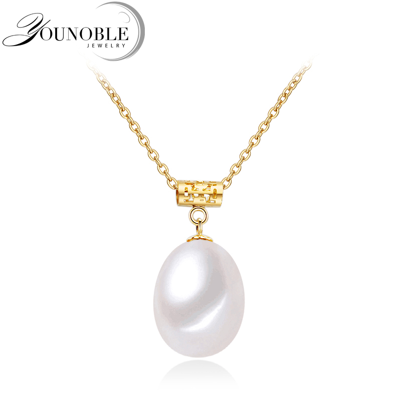 Wedding 18K Gold Pendant Freshwater Pearl Necklace Women,Gold Jewelry Girl Gift 925 Sterling Silver Necklace Chain Anniversary недорого