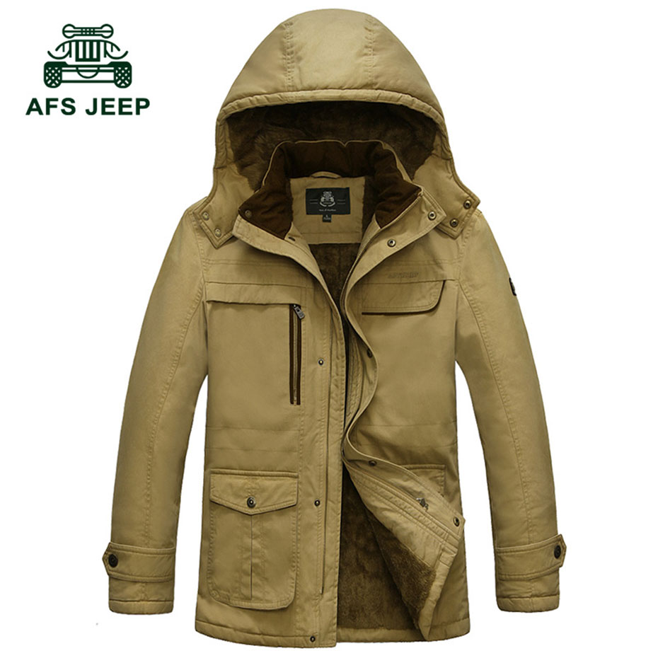 ФОТО M~4XL 5XL 2017 Autumn Winter Down & Parkas Cargo Fleece Thicken Jackets Khaki Coats Men Casual Cotton Hooded New Arrival Jackets