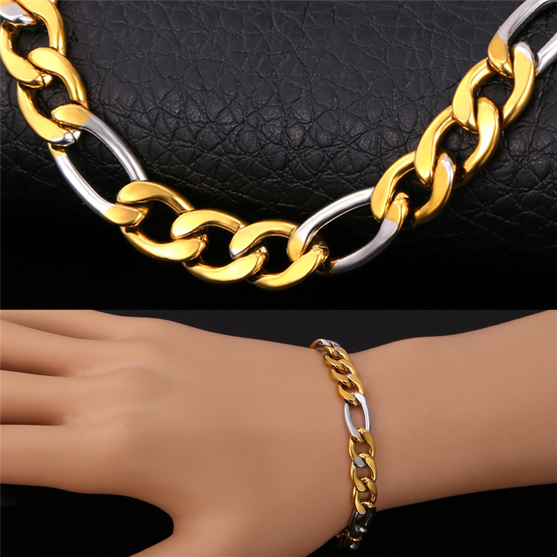 Two Tone Chain Bracelets Men's Jewelry With 8mm Width Stainless Steel Wholesale Trendy Fashion Women Jewelry Bracelets H215