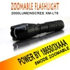 USA EU Top Selling Style E17 CREE XML T6 2000LM Aluminum Zoomable Cree Led Flashlight Torch