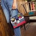 Clássico da moda azul bordado Abelha Rosa ocasional das mulheres totes bolsa das senhoras bolsa de ombro bolsa crossbody saco do mensageiro aba