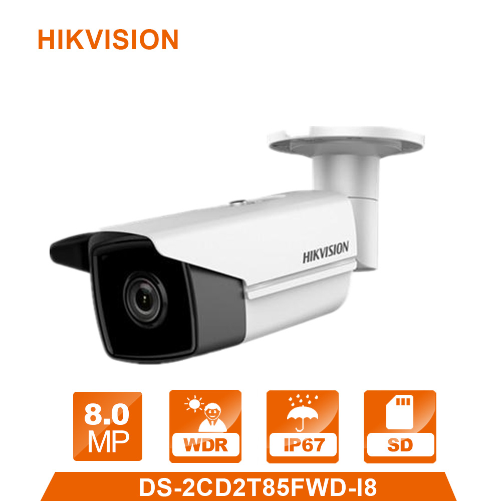 Hikvision CCTV IP Camera DS-2CD2T85FWD-I5/I8 8MP Real time Video IR Bullet Camera Network PoE 80m IR Range hikvision 4mp ip camera ds 2cd1641fwd i 4mp vari focal network camera hd 1080p real time video ir bullet poe cctv camera