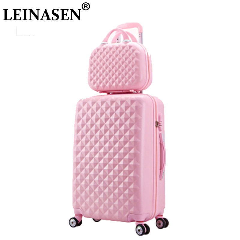 HOT 2PCS/SET 14inch Cosmetic bag 22 -26 inch girl trolley case ABS+PC students Travel luggage woman rolling suitcase 2pcs 14 cosmetic case bag 22 26 inch girl trolley case abs pc student suitcase ladies rolling luggage ladies portable chassis