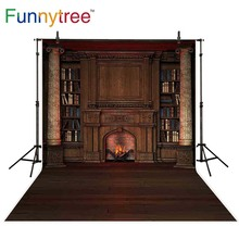 Funnytree photography backdrops fireplace library bookshelf interior elegance photocall studio funds photo background photophone