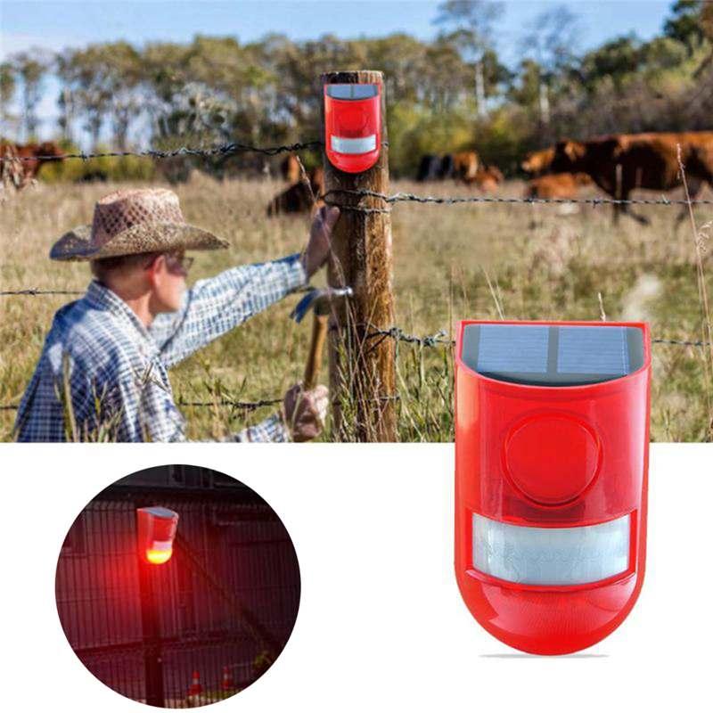 CLAITE 110db 6 LED Solar Alarm Red Lamp Motion Sensor Warning Sound Light Waterproof For Garden Factory Warehouses Secret Wall