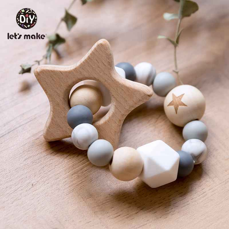 Let's Make 1pc Silicone Bead And Wooden Bead Bracelet Nursing Teething Toys BPA Free Beech Wooden Star Bracelet DIY Baby Teether
