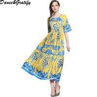 Elegant Design Women's Summer Flare Sleeve Printed Runway Maxi Long Party Dress Vintage Bohemian Dresses HIGH QUALITY