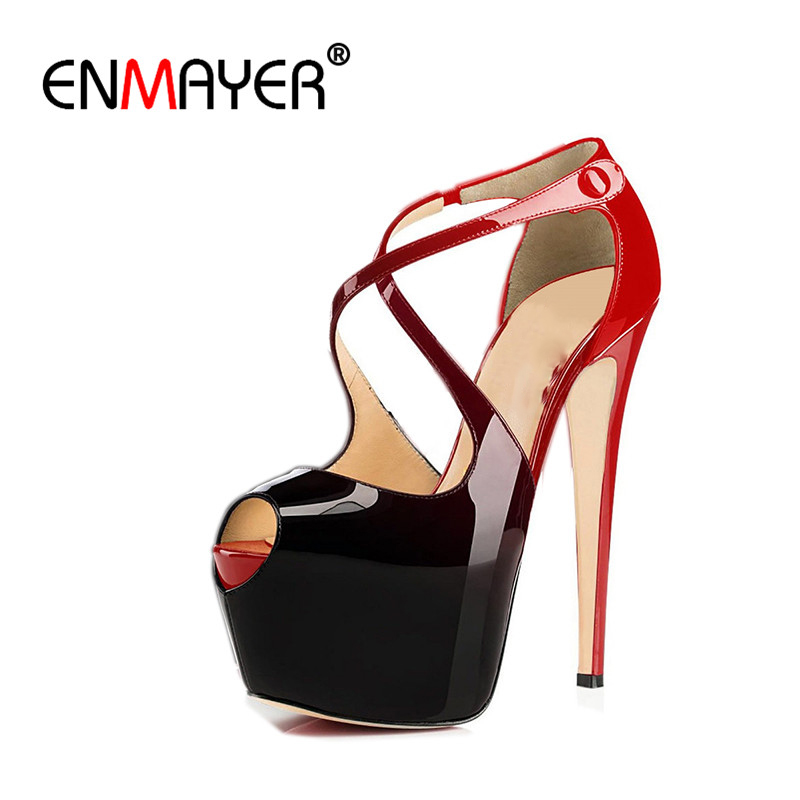 ENMAYER Cross-tied Shoes Woman Summer Pumps Plus Size 35-46 Sexy Party Wedding Shoes High Heels Peep Toe Womens Pumps Shoe enmayer pointed toe sexy black lace party wedding shoes woman high heels shallow pumps plus size 35 46 thin heels slip on pumps
