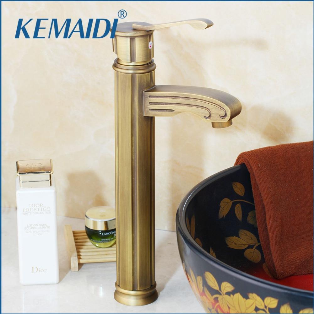 KEMAIDI Bathroom Basin Sink Faucets Antique Brass Deck Mounted Torneira Banheiro Single Handle Hole Mixer Tap