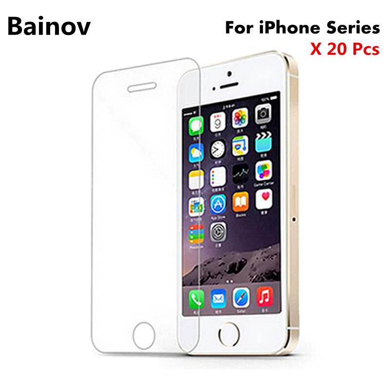 Bainov 20Pcs/Lot 0.3mm Tempered Glass for iPhone 4 4s 5 5s 5c Anti-Explosion Protective Screen Protector Film For iPhone 6 6s 7
