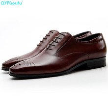 Genuine Cow Leather Business Carving Italian Men Shoe Designer Dress Shoes Black Red Wine Lace-up Suit Oxford