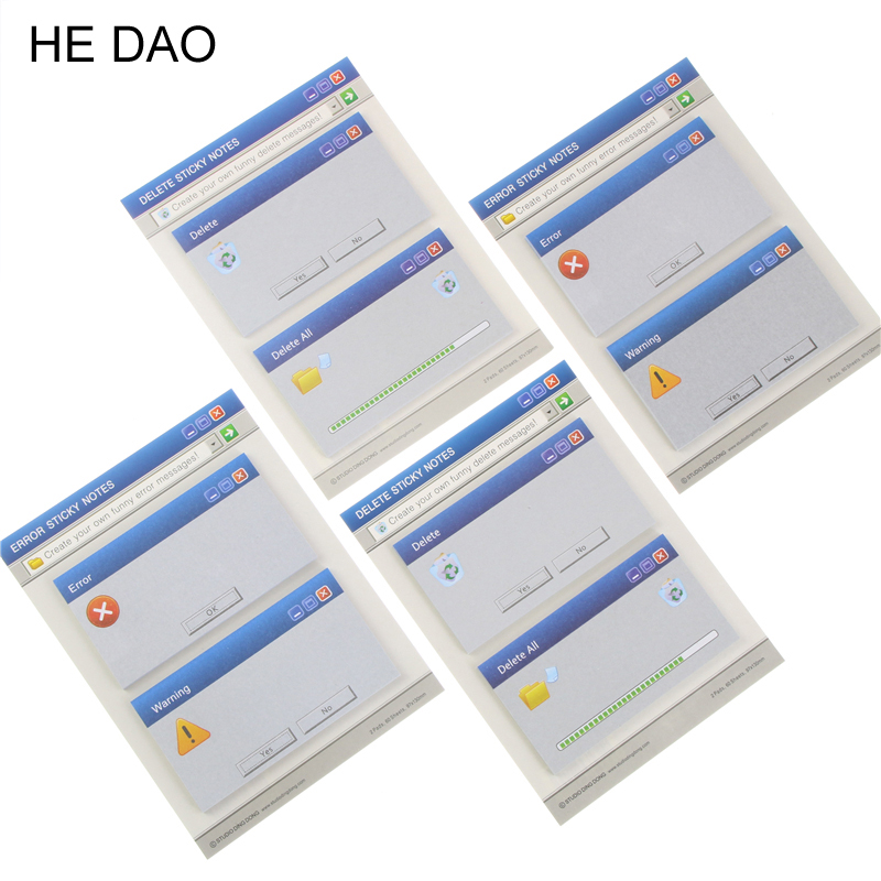 Novelty Windows System Notice Mini Memo Pad Sticky Notes School Office Stationery Supply Bookmark Post It Label Stickers