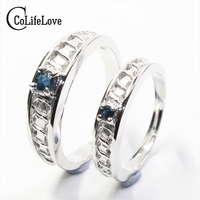 Genuine sapphire wedding rings real 925 silver gold plated ring don't fade for ten years cute couple ring for lover