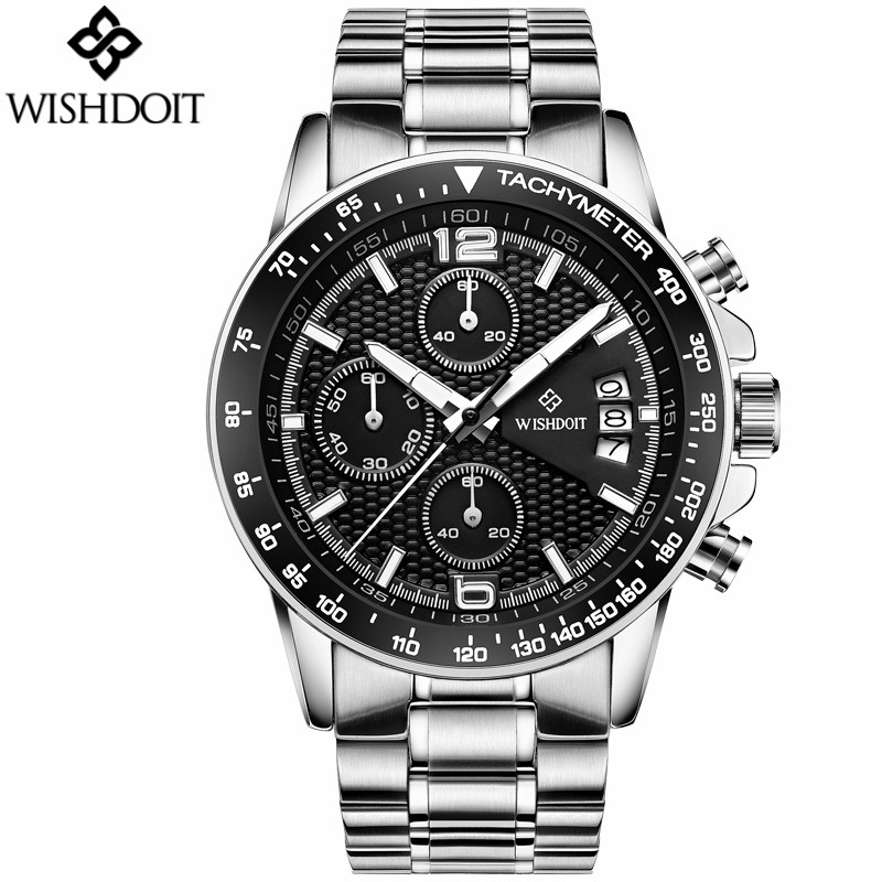 WISHDOIT Watches Men 2017 Top Brand Luxury Sport Quartz Watch Multifunction Waterproof Mens watches stainless steel Wristwatch wishdoit watch men top brand luxury watches simple business style fashion quartz wrist watch mens stainless steel watch relogio