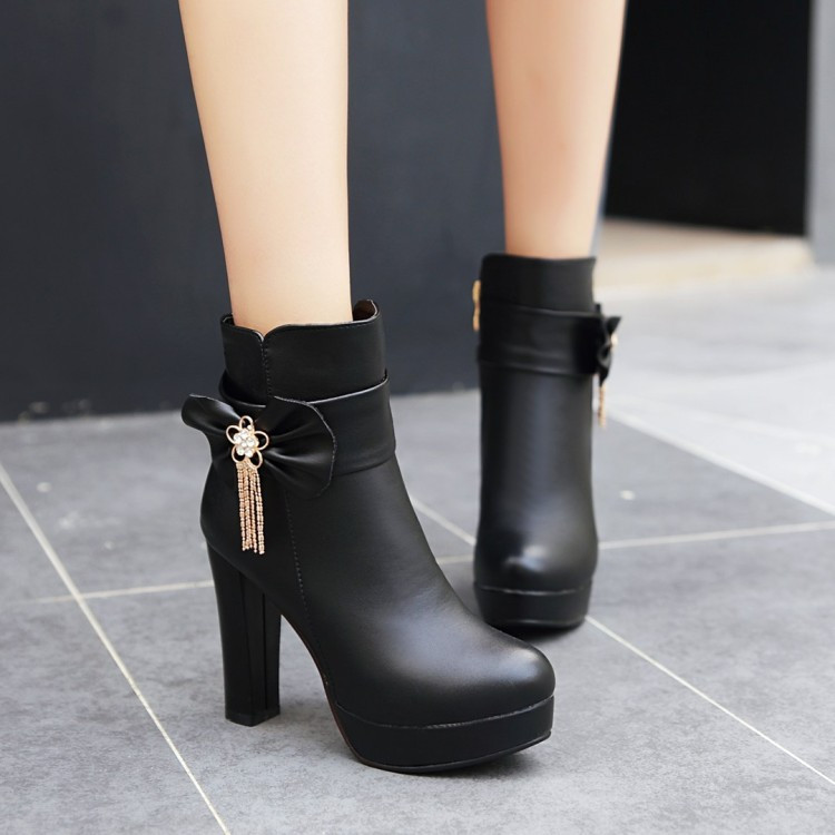 18_2016 Autumn Korean Womens Pink Dress Booties Shoes Princess Bow High Heels Black And White Platform Ankle Boots For Winter