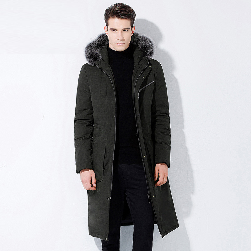 High Quality New Winter Men's   Down   Jacket Long 90% White Duck   Down     Coat   Thick Warm with Real Fur Collar Hood Outwear -30C CO155