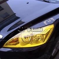 14 Rolls/Lô Glossy Auto Car Khói Sương Mù Nhẹ Đèn Pha Vinyl Đèn Hậu Tint Film Tấm Sticker Vàng Xe Đèn Pha phim