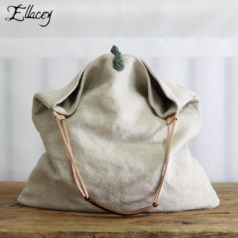 Casual Solid Linen Shopping Bag Tote Environmental Shoulder Bags Package Crossbody Bags Purses Casual Handbag For