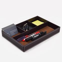 4 Grids Multi-functional PU Leather Desktop Storage Tray Office Stationery Key Holder Organizer