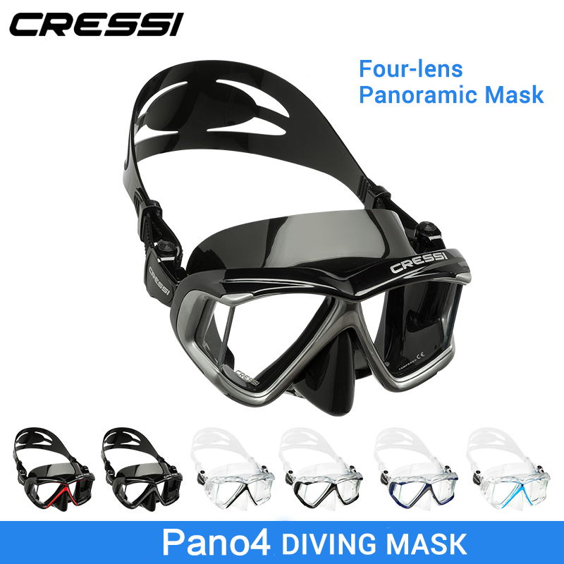 Cressi PANO 4 visión amplia buceo máscara de silicona falda tres lentes panorámica buceo máscara Snorkeling para adultos