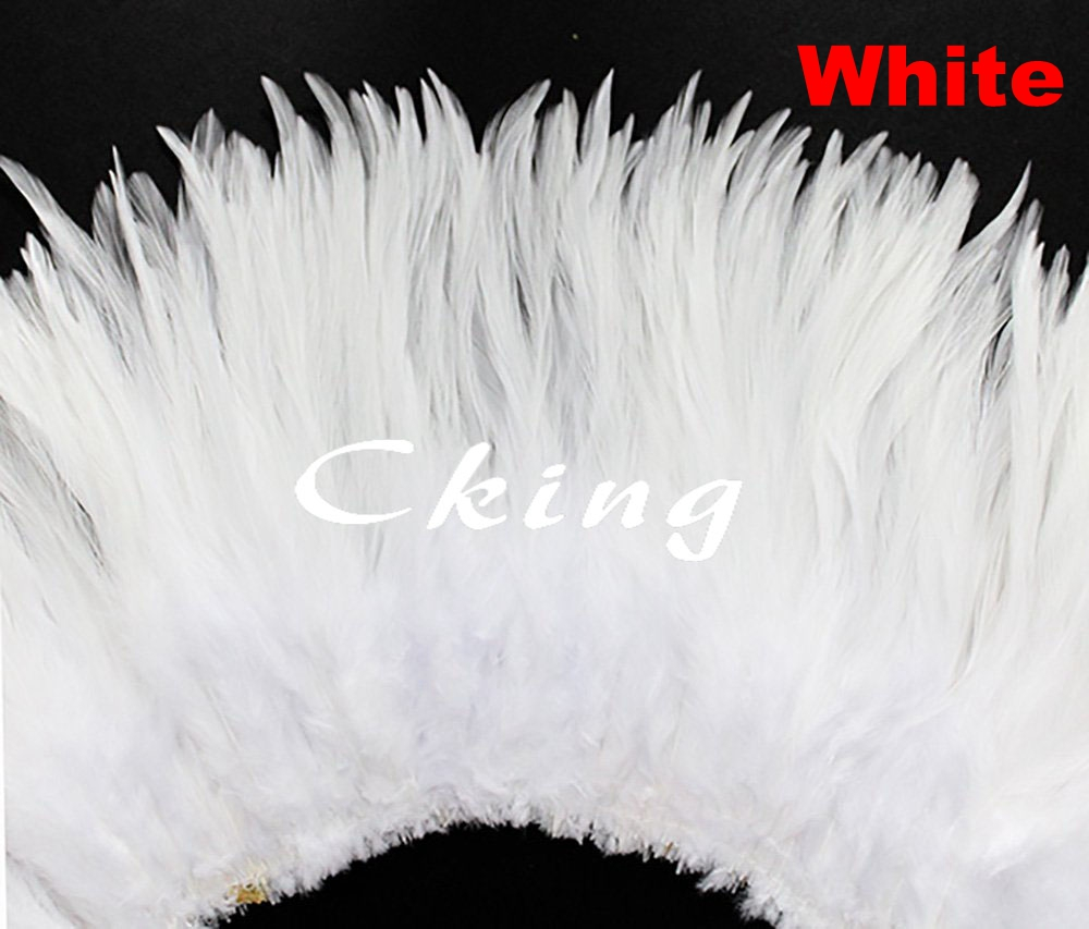 EMS free shipping 1kgs 6 8 Inch Beautiful Bleached White Rooster Saddle Feather Strungs For Dress Skirt edges 19 color available