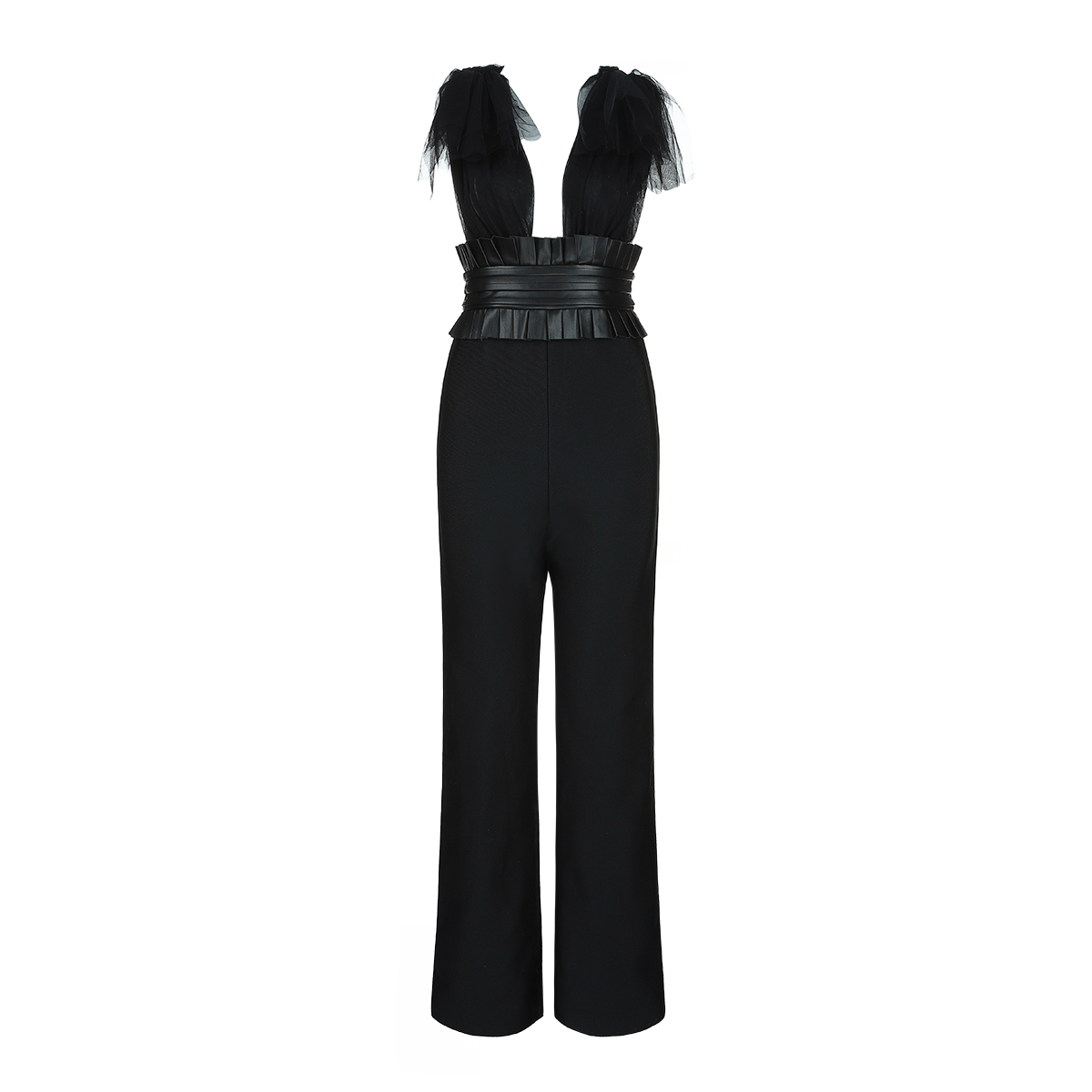 Deavogy 2019 New backless Women Sexy Bodycon mesh V neck Evening Party Bandage Jumpsuits Hot Sale-in Jumpsuits from Women's Clothing    2