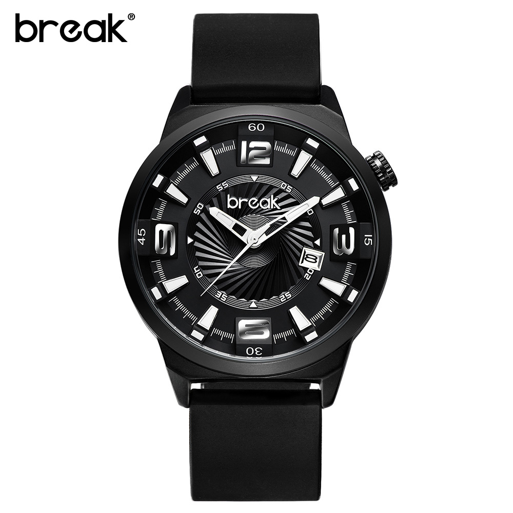 BREAK Men Top Luxury Brand Fashion Casual Leather Stainless Steel Band Calendar Quartz Sports Wristwatches Creative Gift Watches