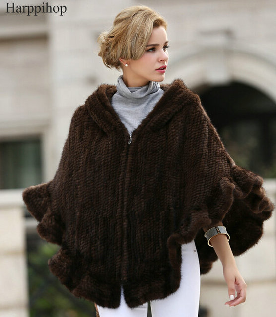 2017 New Genuine Mink Fur Shawl Knitted Real Mink Fur Poncho For Women Natural Fur Warp With Hood Winter Mink Fur Jacket