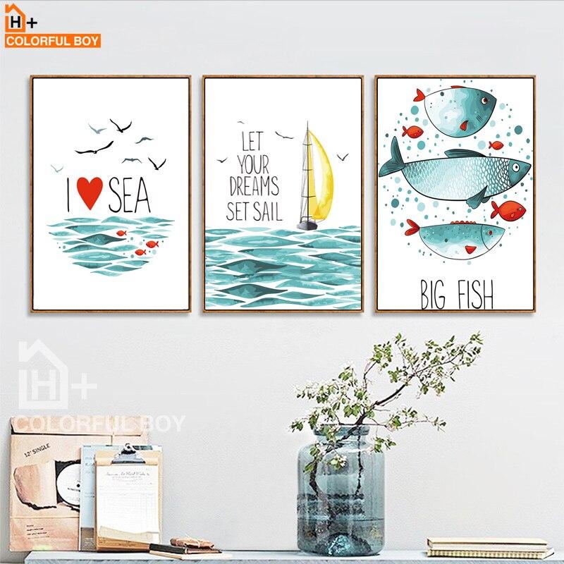COLORFULBOY Fish Sea Landscape Wall Art Print Akvarell poszterek és - Lakberendezés