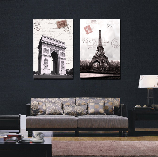 Buy 2 piece wall art europe architecture - Boutique art deco paris ...