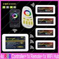 1x 2.4G RF Wireless 4-Zone Touch Remote + 1x WiFi Hub + 4x DC12-24V 10A Max Mi-light RGB Controller Complete Set For RGB Strips