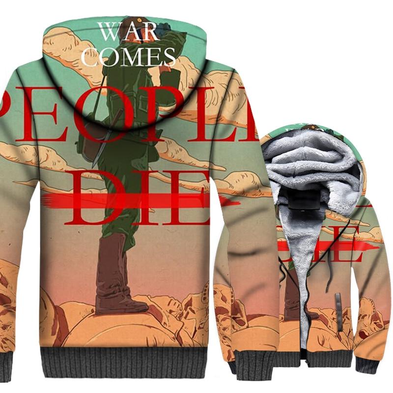 The War Comes 3D Print Jacket Men Movie Hoodie Men Casual Hooded Sweatshirt 2018 New Design Winter Thick Fleece Warm Zipper Coat