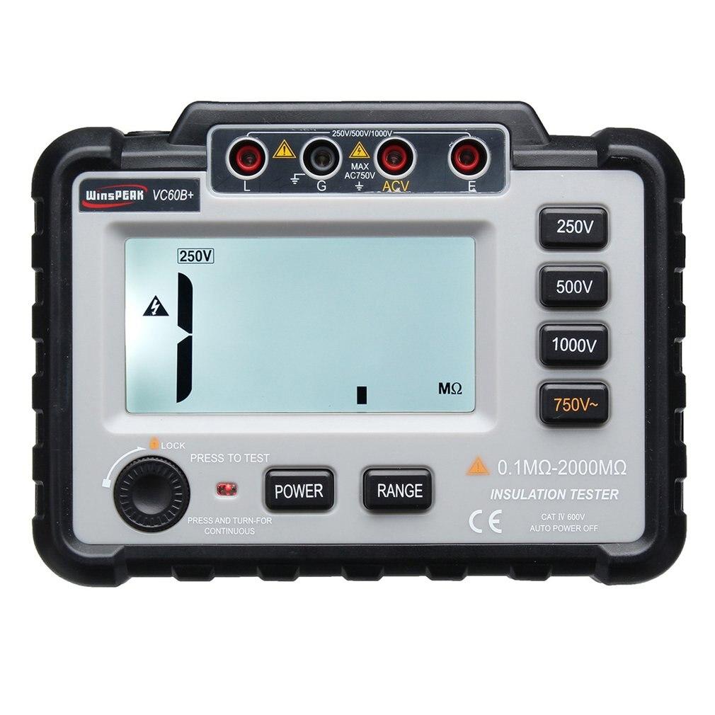 VC60B + Digital Insulation Resistance Tester Earth Ground Meter Megger Megohmmeter Portable Volt Voltmeter Multimeter Multimeters     - title=