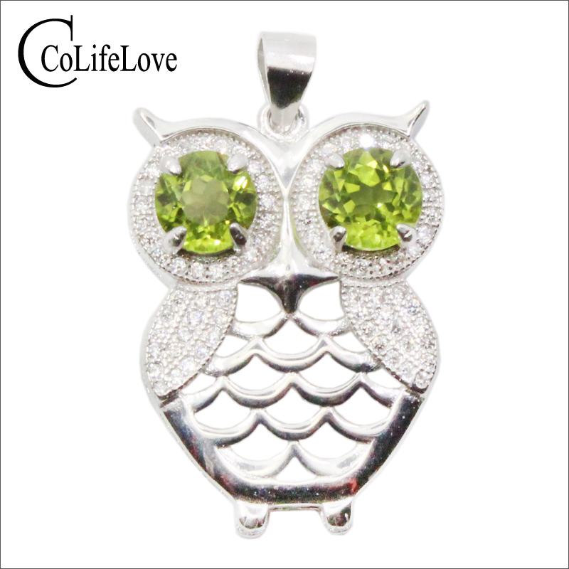 CoLife Jewelry Cute Silver Owl Pendant with Gemstone 2pcs 6mm Natural Peridot Pendant Fashion 925 Silver