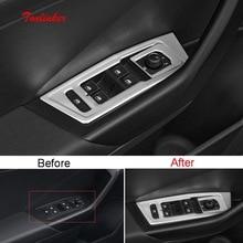 Tonlinker подкладке Windows Управление Панель крышка наклейка для Volkswagen T-ROC 2018 Автомобиль Стайлинг 4 шт крышка из нержавеющей стали Стикеры