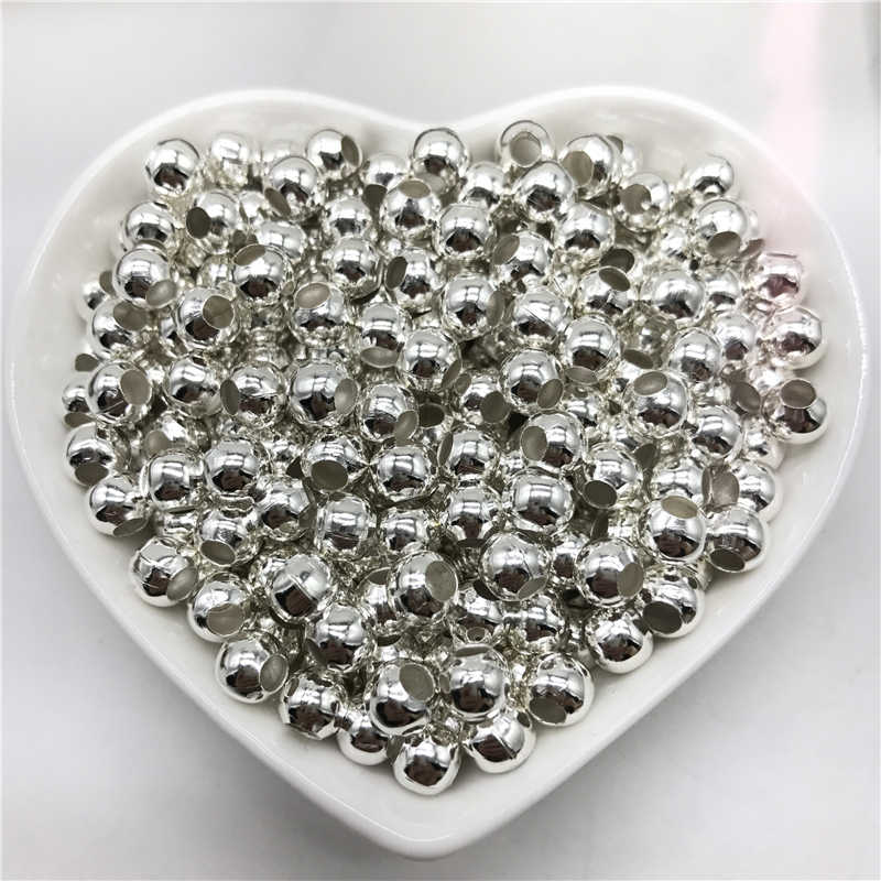 3/4/5/6mm 100pcs/Bag Big Hole Alloy Spacer Beads Round Loose Beads For Jewelry Making DIY Jewelry Findings Metal Silver Beads